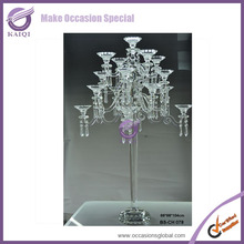 K8253 9 arms wedding centerpieces candelabra for wedding table Crystal candelabra with glass holder and flower