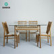 BAMBKIN bamboo furniture kitchen dining room table and chair set for 4/6 five-pieces rectangle glass dining table set
