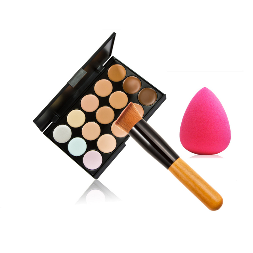 High quality eyeshadow palette 15colours makeup palette with bevel head brush and puff