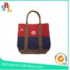 Simple canvs shopping tote bag with real leather handle from alibaba china supplier