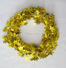 Metallic Colored PVC Christmas Tinsel, Stars Tinsel,Wired Garlands