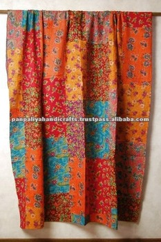 Kantha quilt fabrics with intricate or floral patterns,beautiful colors with patchwork kantha quilts and throws