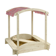 Children wooden sandbox picnic table chair with adjustable roof