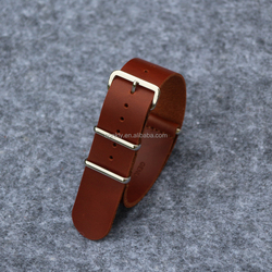 Customed Dark brown Oil wax leather nato watch bands with 304L SS brushed hardware in 20mmm and 22mm