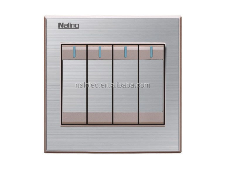 Bangladesh Brushed stainless steel 4 gang 1 way luxury switch