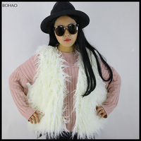 Korea style women winter white mongolian inc fur vest