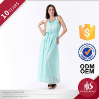 2015 New Style long elegant chiffon turquoise blue bridesmaid dresses with Glass Beaded