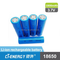 19x66mm Size and Li-Ion Type 18650 lithium ion battery 1800mAh 3.7V