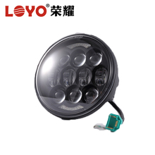 "Wholesale 5.75"" round black and chrome housing color halo led headlight for Motorcycle 80w head lamp"