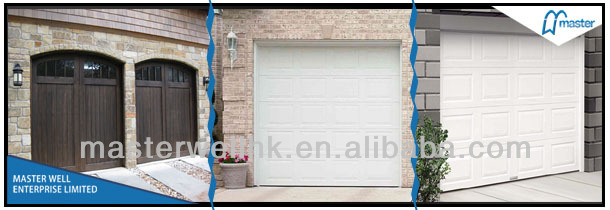 Sectional garage door with sandwich panel/washboard pattern garage panel
