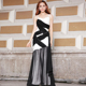 Black&White Contrast Elegant Long Lace Appliqued Evening Dress Formal Gown Guangzhou