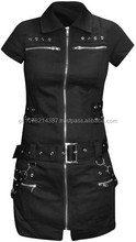 2015 Gothic Black womens shirt Embellished with Multiple riveted straps cotton material