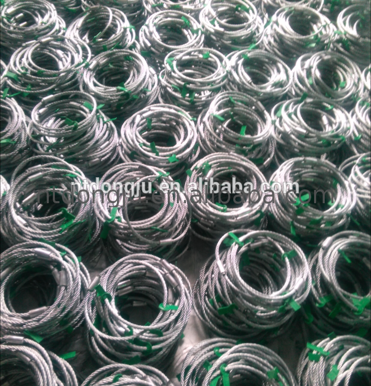 China manufacturer high quality heavy lifting galvanized steel wire rope slings