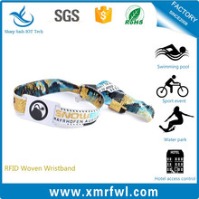 Factory Promotional fabric passive rfid woven wristband for festival concert sports events