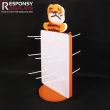 beautiful wood counter top doll display rotatable children's toy display double sides with 18 hooks