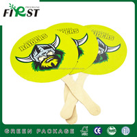 Customized Round Hand Paper Fans with Wooden Handle/Custom Logo Diy Paper Hand Fan/custom advertising paper hand fan
