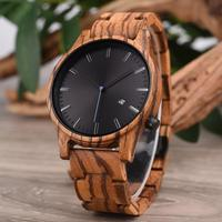 Luxury Natural Quartz Movt Custom Logo Wood Watch Wristwatches Relojes de madera Holz uhr Sports
