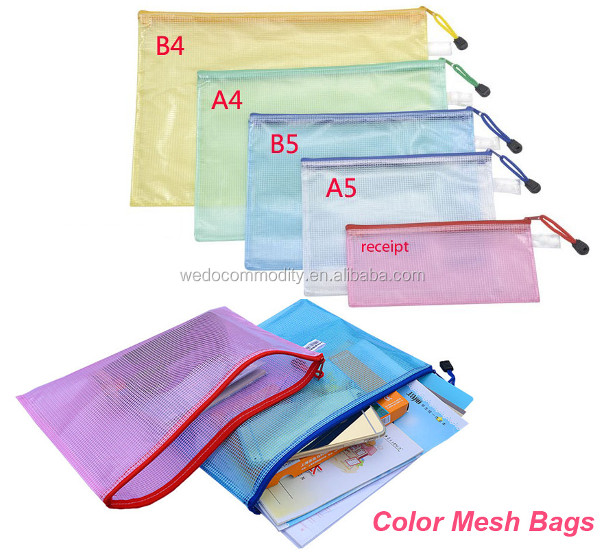 A3,A4,A5,A6,B4,B5 etc,customized Colors Plastic file folder zipper document bags