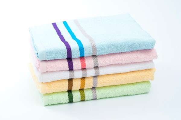 W8 100% Cotton Stripe Border Bath Towel