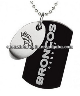 316L Stainless Steel Jewelry Denver Broncos NFL Double Dog Tag Pendant Necklace