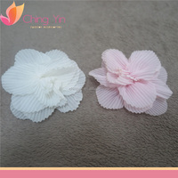 Cute Baby Girls' Fashion Hair Accessories Chiffon Off-White and Fancy Pink Flower Hair Alligator Clip