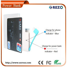 plastic case CE, ROHS, FCC certificate portable power bank charger with 2000mAh for iphone, ipad, digital camera