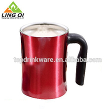 Silk screen logo cheap food grade stainless steel plain red coffee mug cup with soft handle