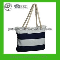 2013 hot sale Blue white stripe canvas bag with cotton rope handle