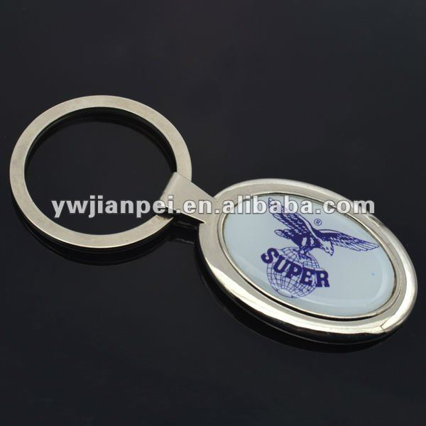 Custom Oval Shape Promotion Gift, Metal Key Ring With Epoxy Logo