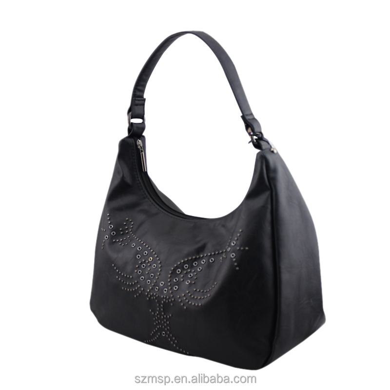 genuine lady leather butterfly rivet shape handbag for day use / lady handmade bowling handbag