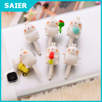 Christmas Gift! silicone Cartoon Rabbit Phone Dust Plug for samsung galaxy s6