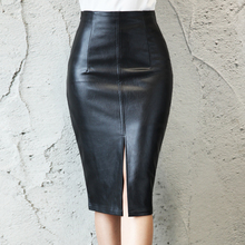 2016 Leather Look Mix Pencil Skirt,Women leather skirts