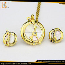 2017 New Design Manufacturers Women Gold Plating Stainless Steel Shell Jewelry Set