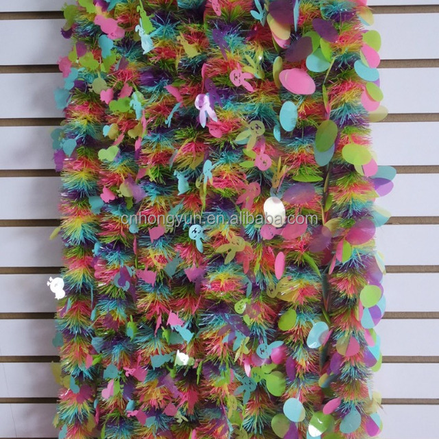 2M*10CM*6P easter tinsel with egg / rabbit /chicken , cheap
