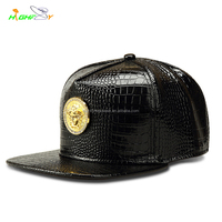 custom high quality plain snakeskin black snake leather flat brim structured 6 panel blank snapback cap with metal patch logo