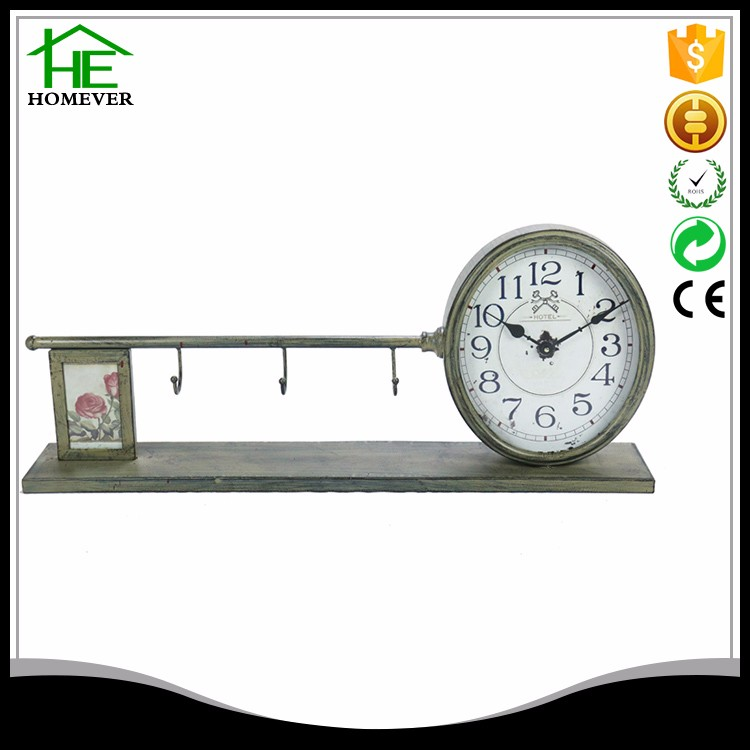 time zone desk clock with pen holder and photo frame