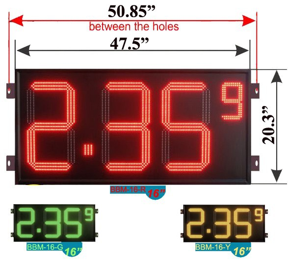 "16"" CE price led sign board for gas station"