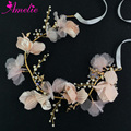 Elegant Wedding Headband Pink Flower Bridal Hair Band Pearl Rhinestone Hair Vine Women Hairwear Tiara