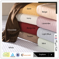solid color cotton sateen stripe bedding sheet set for home use and hotel manufacturers suppliers