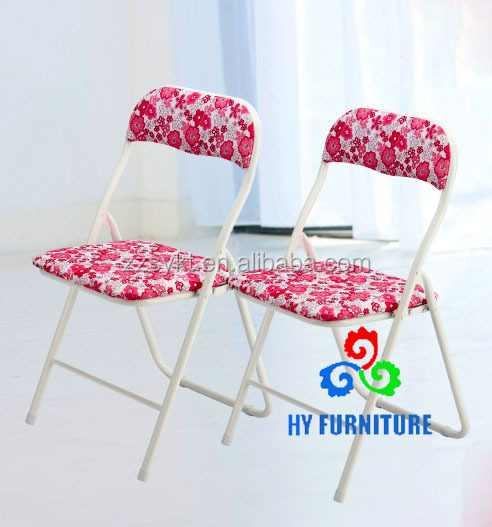 Simple design metal tube frame folding dining chair with cloth cover seat