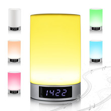 Wireless Bluetooth Speaker LightTouch Sensitive 6 Led Night Light Modes, Music Alarm Clock, TF Card Playing Speaker Speakerphone