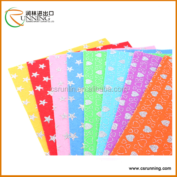 brand new wholesale non-woven fabric manufacturer patterned DIY glitter printed polyester felt