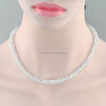 Trendy white gold plated mesh crystal long necklace
