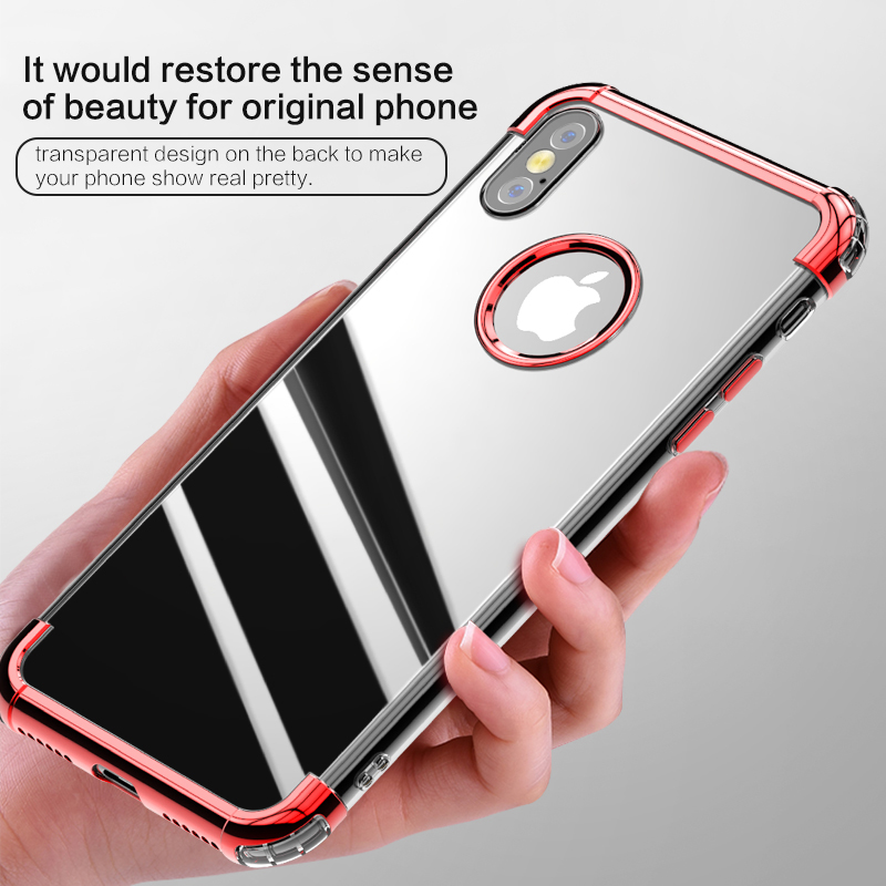 Wholesale Price Electroplating Transparent Back Covers Anti Shock Mobile Phone Case for iphone X