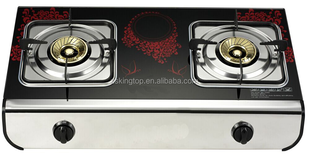New special donble burner gas stove glass top with super blue flame