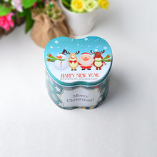 Merry Christmas and Happy New Year Design Blue Theme Apple Shape Tin Box
