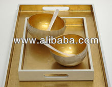 High quality best selling designed lacquer rectangle serving tray with metallic coco bowl
