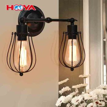 2 Head Industrial Vintage Style Indoor Outdoor Wall Lamp Bar Loft Wire Cage with Bulbs Wall Sconce