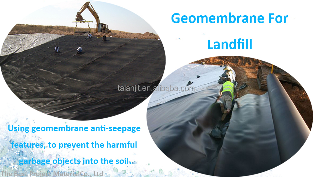 1mm impermeable hdpe geomembrane for black industrial pond for Pond liner material