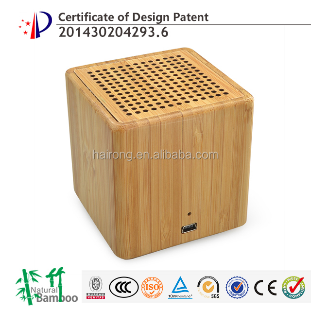 2017 new gadgets Bamboo Wood Stereo Bluetooth Speaker Dual Embedded Subwoofer Speaker with super bass